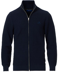 GANT Cotton Texture Full Zip Evening Blue