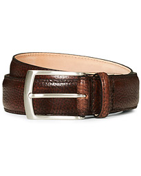 Henry Grained Leather Belt 3,3 cm Dark Brown