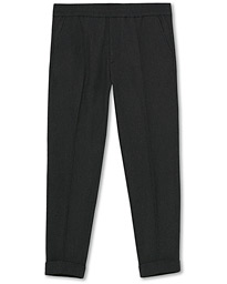 Terry Flannel Cropped Turn Up Trousers Dark Grey Mel