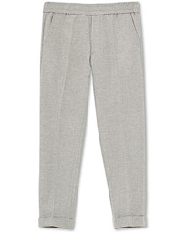 Terry Flannel Cropped Turn Up Trousers Warm Grey Mel