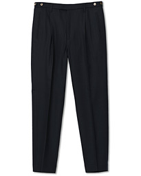 Masco Pleated Wool Trousers Navy