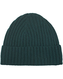 Rib Knitted Cashmere Cap Bottle Green