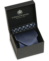 Box Set Printed Silk 8 cm Tie and Pocket Square Navy