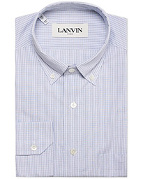 Lanvin Button Down Fitted Check Shirt Blue