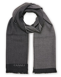 Canali Textured Wool Scarf Dark Grey