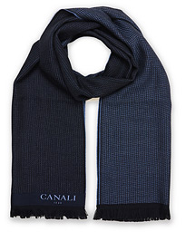 Canali Textured Wool Scarf Navy