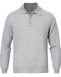 Canali Knitted Long Sleeve Polo Light Grey