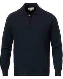 Canali Knitted Long Sleeve Polo Navy