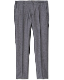 Slim Fit Super 120s Flannel Trousers Grey Melange