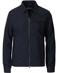 Morris Dulwich Donegal Full Zip Overshirt Blue