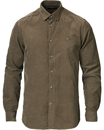 Cedric Baby Cord Button Under Shirt Olive