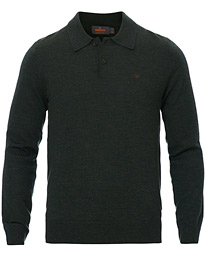 Morris Merino Knitted Polo Dark Green