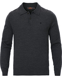 Morris Merino Knitted Polo Dark Grey