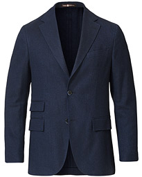 Keith Cotton/Cashmere Herringbone Blazer Navy