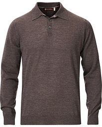 Morris Heritage Knitted Merino Wool Poloshirt Brown