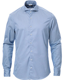 Slimline Washed Printed Cut Away Shirt Blue
