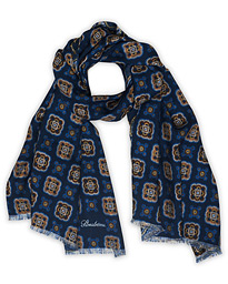 Medallion Wool Scarf Navy