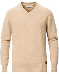 Knitted Wool/Cashmere V-Neck Natural