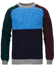 Brushed Wool Colour Block Sweater Med Grey