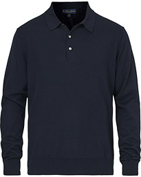 Knitted Long Sleeve Polo Navy