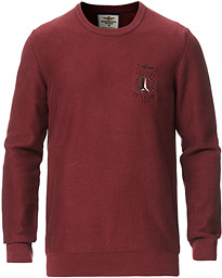 Washed Cotton Crew Neck Rosso Scuro