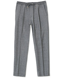 Drawstring Flannel Trousers Light Grey