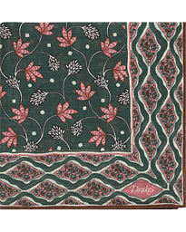 Printed Wool/Silk Indian Flowers Pocket Square Green