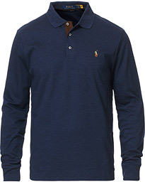 Pima Luxury Long Sleeve Polo Spring Navy Heather