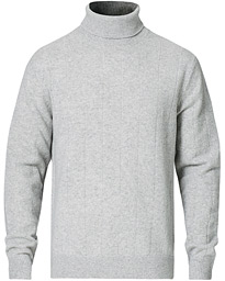 Cashmere Blend Needle Stitched Turtle Neck Light Grey
