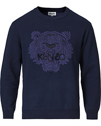 Icon Tiger Crest Knitted Crew Neck Navy Blue