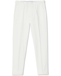 Satin Stretch Pleated Chino White