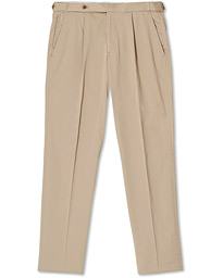 Satin Stretch Pleated Chino Khaki