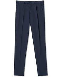 Satin Stretch Pleated Chino Navy