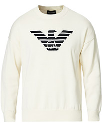 Logo Knitted Crew Neck White