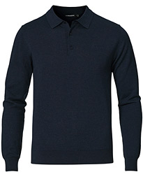 Rowan Cotton/Silk Long Sleeve Polo Navy