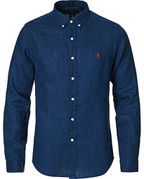Slim Fit Linen Button Down Shirt Newport Navy