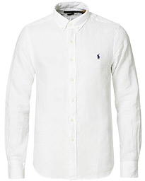 Slim Fit Linen Button Down Shirt White