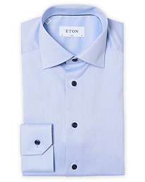 Slim Fit Twill Contrast Piping Shirt Light Blue