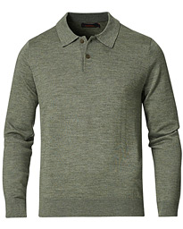 Merino Long Sleeve Polo Shirt Olive