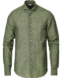 Slimline Linen Cut Away Shirt Olive