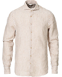 Slimline Striped Linen Cut Away Shirt Light Brown