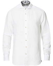 Fitted Body Contrast Linen Cut Away Shirt White