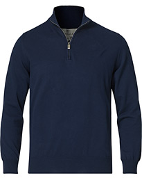 Cotton Half Zip Navy