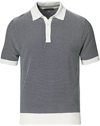 Silk Blend Knitted Polo Navy
