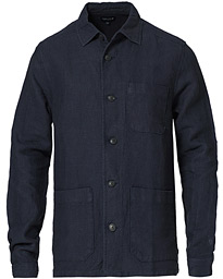 Robert Linen Overshirt Dark Blue