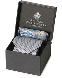 Box Set Silk 8 cm Tie With Pocket Square Grey