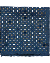 Silk Oxford Medallion Pocket Square Navy