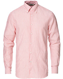 Color Stripe Button Down Cotton Shirt Soft Red
