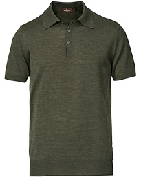 Short Sleeve Knitted Polo Shirt Olive