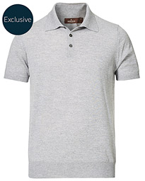 Short Sleeve Knitted Polo Shirt Grey